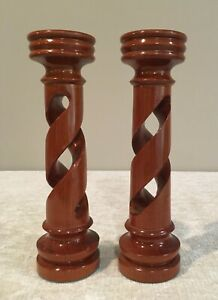 Pair of Hardwood Twisted Candle Holders Candlesticks from Costa Rica