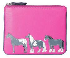 Pink Leather Zip Top Coin Pocket Purse Wallet with Horse Pony Applique by Mala