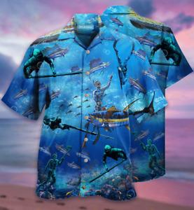 SPEARFISHING AOP Hawaiian Shirt Button-Down