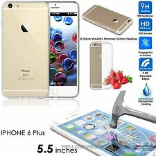 iPhone 6 Plus Case Clear Silicone Gel Slim Cover+Tempered Glass Screen Protector