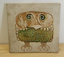 "Bennington Pottery tile owl mid century modern 8"" ceramic David Gil #1536"