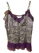 To The Max Women's floral ruffle spaghetti strap Tank Top Purple Medium
