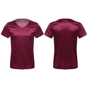 Mens T-Shirt Satin Pajamas Top Soomth Sleepwear V Neck Thin Loungewear Nightwear