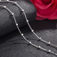Genuine 925 Sterling Silver Ball Bead Box Chain Necklace Various Lengths  Italy
