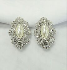 Silver Rhinestone Crystal Pearl CLIP-on Earrings Wedding Bridal Formal Clip-Ons