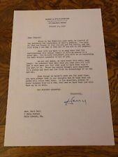 Notre Dame Legendary Four Horsemen Harry Stuhldreher Autographed Letter! d.1965