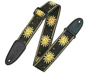 "Levy's Adjustable Guitar Strap - Black 2"" Wide Sun Design Jacquard Weave Style"