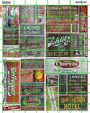 N004 DAVE'S DECALS N SCALE GHOST SIGNS BUILDING ADVERTISING SET 4 SODAS BEER