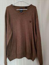 CHAPS Mens V-Neck XL Pull Over Sweater Dark Beige Cotton/Cashmere