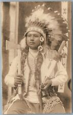 AMERICAN INDIAN BOY CHIEF TOMAHAWK PEACE PIPE HEADDRESS ANTIQUE REAL PHOTO RPPC