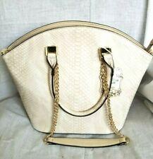 Beige and Gold Designer Inspired Vegan Faux Leather Hand Bag