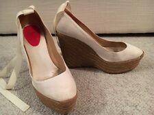 CHRISTIAN LOUBOUTIN 40 Wedge Heel Shoes Beige Sexy Strap Bag