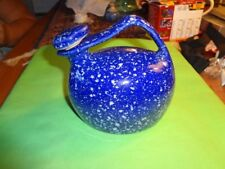 BLUE SPATTER COCHE STONE WARE JUG WITH CORK AND ENAMEL STOPPER