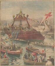 K0818 Processione della Flottiglia Eucaristica sul mare di Genova_Stampa antica