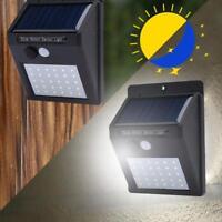 30 LED Solar Wand Leuchte Garten Weg Licht Lampe mit Bewegungsmelder Lichtsensor