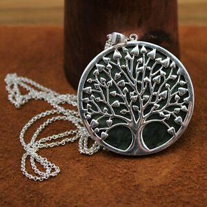 "JTV Green ""Connemara Marble"" Tree Of Life Enhancer Pendant Necklace Sterling"