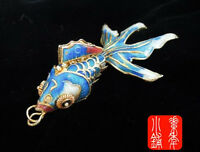 Pretty Sky Blue Vintage Cloisonne Enamel Silver Koi Fish Pendant top-level !!