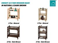 KNIGHT 2/3 Tier Free Standing Wooden Rack with Storage Shelves Display Unit