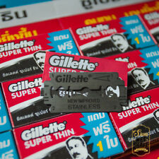 5 Pack 30 ps Razor blades Gillette Super Thin Improved Stainless Single Edge New