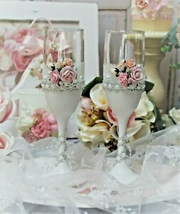 Shabby Chic Vintage Toasting flutes Wedding Bride and Groom Toastiing Glasses