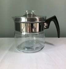 Vintage Pyrex 8854 Flameware 4 Cup Percolator Coffee Pot ~ Stainless Steel ~ USA