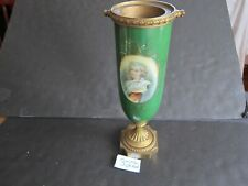 """Porcelain Urn Hand Painted portrait of a young  Lady 12 """" brass footing"""