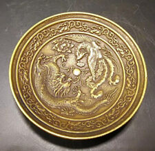 Chinese Old Brass Handmade Carved dragon and phoenix dish