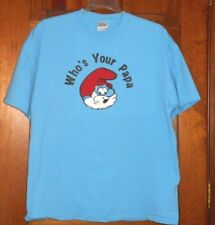 "SMURFS PAPA Smurf ""WHO'S YOUR PAPA"" Smurf Blue Mens; Unisex T-Shirt sz LARGE"