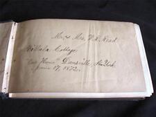 1872 Autograph Book Jackson Sanatorium Dansville OOAK 50 Signatures Castle Hill