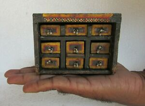 Vintage Old Hand Crafted 6 Drawer Painted Jewellery Box collectible