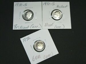 1970 S - 1971 S - 1972 P Roosevelt Proof Uncirculated Dimes Lot (3 Coins)