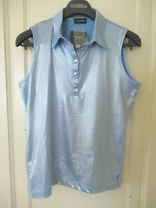 NWT GOLFINO SLEEVELESS  DRY  COMFORT Collared Polo Silvery Blue Size M 8 38
