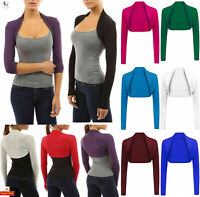 UK Womens Open Front Shrug Ladies Cropped Plain Bolero Long Sleeve Cardigan Top