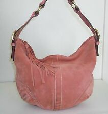 Coach Pink Orange Coral Suede Purse Handbag Bag 8A16