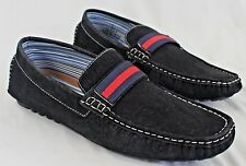 NEW Giraldi Jerry Mens Slip On Moc Driving Shoes Black Navy Red Size 9