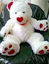 """30"""" Aerial Bouquet Plush White Teddy Bear Red Bow Nose Ears Paws Valentine Gift"""