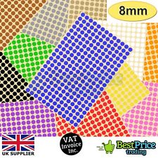 520 x 8mm Coloured DOT STICKERS Round Sticky Adhesive Spot Circles Paper Labels