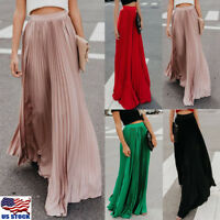 US Womens Chiffon Pleated Long Maxi Dress Elastic Waist Bust Skirt Evening Party