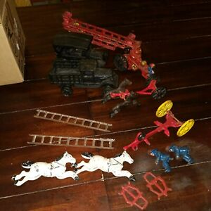 Large Lot of Assorted Cast Iron Toys - Firefighter Farm Truck Street Car Etc.