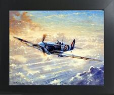 Spitfire Airplane Painting Military Aviation Wall Decor Framed Picture (20x24)
