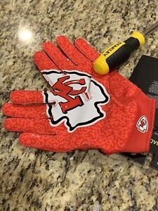 (M) Red & Gold Kansas City Chiefs Nike Superbad Football Gloves New