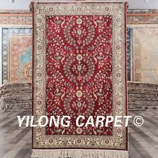 YILONG 2.5'x4' Red Handknotted Silk Carpet Home Office Traditional Area Rug 432B