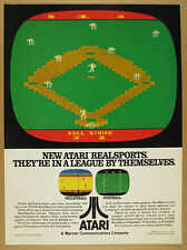 1982 Atari RealSports Video Games baseball volleyball football vintage print Ad