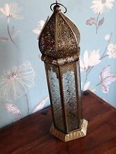 Lantern/Candle holder. Large Tall Brass Moroccan.  Fair Trade