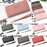Women's Ladies PU Leather Wallet Long Zip Purse Coin Card Holder Case Clutch Bag
