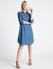 M&S INDIGO DENIM TENCEL 2 POCKET SHIRT DRESS SIZE UK 16 EUR 44 BNWT