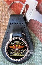 VICTORY MOTORCYCLE PARTS Genuine dyed black Leather Key Ring Fob Christmas