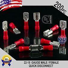 200 Pack 22 18 Gauge Male Amp Female Quick Disconnect Red Vinyl 250 Connectors