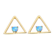 Blue Fire Opal Yellow Gold Plated for Women Jewelry Stud Earrings 16mm OH4436