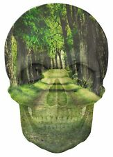 Gothic Skull Double Exposure Beautiful Green Forest View Wall Sticker 414